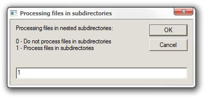 Processing files in subdirectories