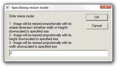 Specifying resize mode